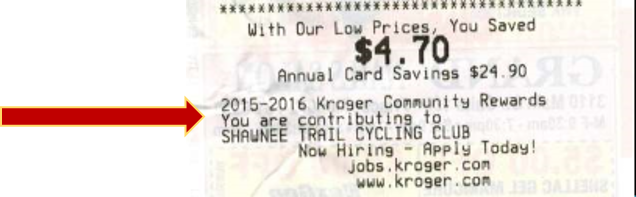 Kroger Community Rewards Sample Receipt